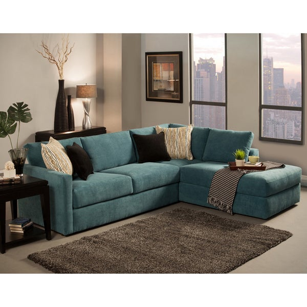 Beau Furniture Of America Faith Deluxe Contemporary Microfiber Fabric  Upholstered 2 Piece Sectional