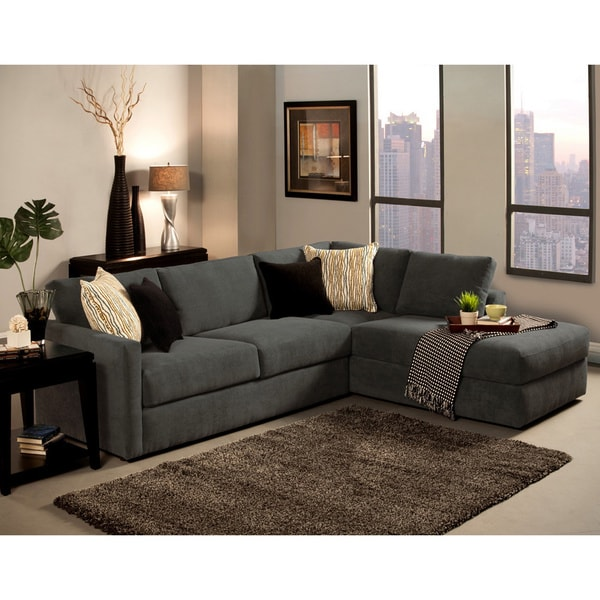 Furniture Of America Faith Deluxe Contemporary Microfiber Fabric  Upholstered 2 Piece Sectional   Free Shipping Today   Overstock.com    15472559