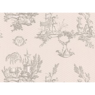 Taupe Vintage Toile Scenic Wallpaper