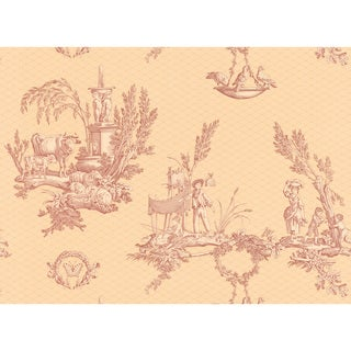 Brewster Home Fashions Light Brown Vintage Toile Scenic Wallpaper