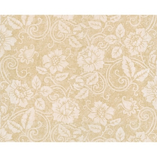 Beige Floral Scroll Wallpaper