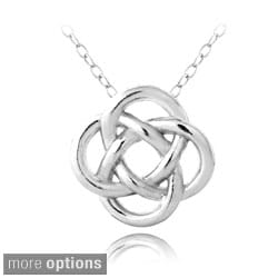 Mondevio Sterling Silver or Gold over Silver Love Knot Flower Necklace