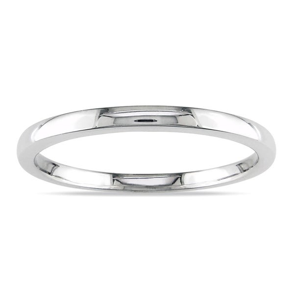 Miadora 10k White Gold High Polished Ladies Wedding Band. Opens flyout.