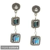 Lola's Jewelry Silver Framed Crystal Square Drop Earrings
