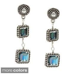 Lola's Jewelry Silver Framed Crystal Square Drop Earrings