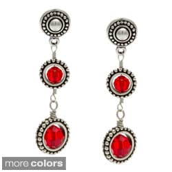 Lola's Jewelry Silver Framed Round Crystals Drop Earrings
