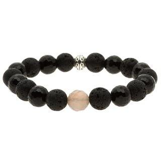 Lola's Jewelry Pewter Onyx and Lava Rock 'Sexy in Black' Bracelet