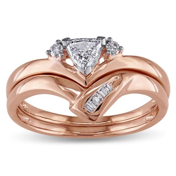 Miadora 14k Rose Gold 1/3ct TDW Diamond Bridal Ring Set (G-H, I1-I2)