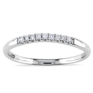 Miadora 14k White Gold Diamond Curved Wedding Band (G-H, I1-I2)