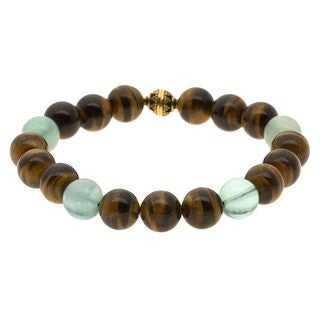 Lola's Jewelry Tiger's Eye and Fluorite 'Protect Me' Unisex Bracelet