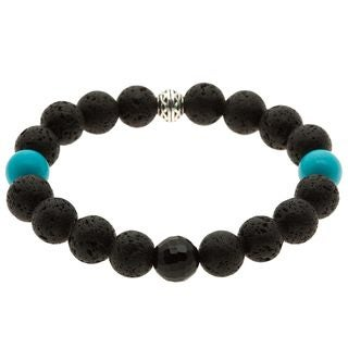 Lola's Jewelry Lava Rock, Turquoise and Onyx 'Pacific Knight' Bracelet