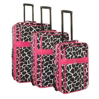 World Traveler Designer Giraffe 3-Piece Expandable Wheeled Upright Luggage Set