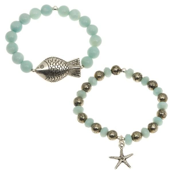 Silver 'Pacific Sea' Amazonite Stretch Bracelet (Set of 2)