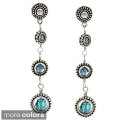 Lola's Jewelry Silver Graduated Framed Round Crystals 3-Drop Long Earrings