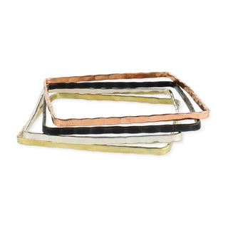 Set of 4 Handcrafted Square Mixed Metals Bangle Bracelets (India)