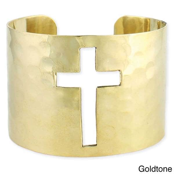 Handcrafted Hammered Cutout Cross Cuff Bracelet (India)
