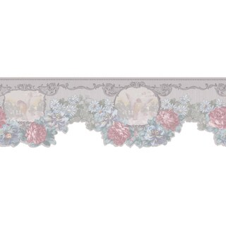 Brewster Light Grey Floral Border