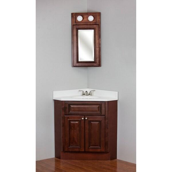 Corner Bathroom Vanity Dimensions: Shop Brandy Wine Maple Corner Vanity