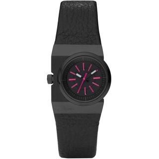 Diesel Women's Black/ Pink Leather Strap Watch