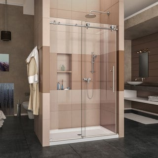 DreamLine Enigma-X Fully Frameless Sliding Shower Door and SlimLine 36 in. by 48 in. Single Threshold Shower Base