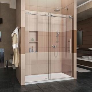 DreamLine Enigma-X Fully Frameless Sliding Shower Door and SlimLine 34 in. by 60 in. Single Threshold Shower Base