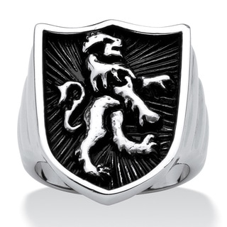 PalmBeach Men's Lion Shield Coat of Arms Ring in Antiqued Stainless Steel Finish