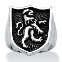 Men's Lion Shield Coat of Arms Ring in Antiqued Stainless Steel Finish