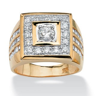 PalmBeach Men's 2.18 TCW Cubic Zirconia Square Ring 14k Yellow Gold-Plated Sizes 8-16