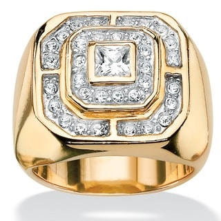 Men'S Gold Over Silver 7/8Ct Tw Princess- And Round-Cut Cubic Zirconia Octagon Ring