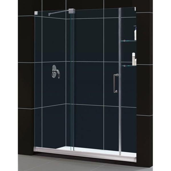 DreamLine Mirage Frameless Sliding Shower Door and SlimLine 30 in. by 60 in. Single Threshold Shower Base