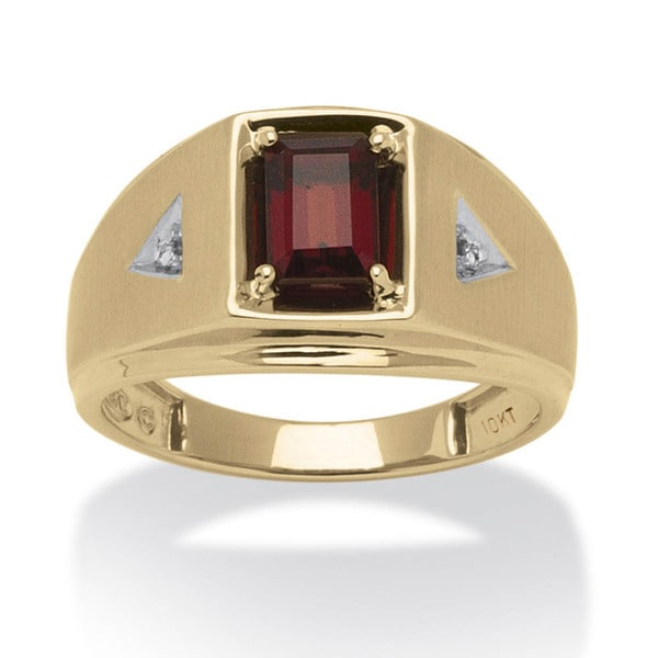 Men's 1.20 TCW Emerald-Cut Genuine Garnet and Diamond Accent Ring in 10k Gold. Opens flyout.