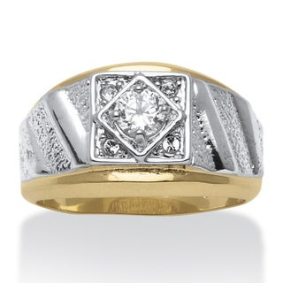 PalmBeach Men's Round Crystal 14k Yellow Gold-Plated Two-Tone Textured Ring