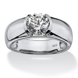 PalmBeach Men's 2 TCW Round Semi-Bezel-Set Cubic Zirconia Ring in Platinum over .925 Sterling Silver