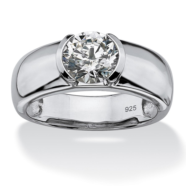 Men's 2 TCW Round Semi-Bezel-Set Cubic Zirconia Ring in Platinum over .925 Sterling Silver