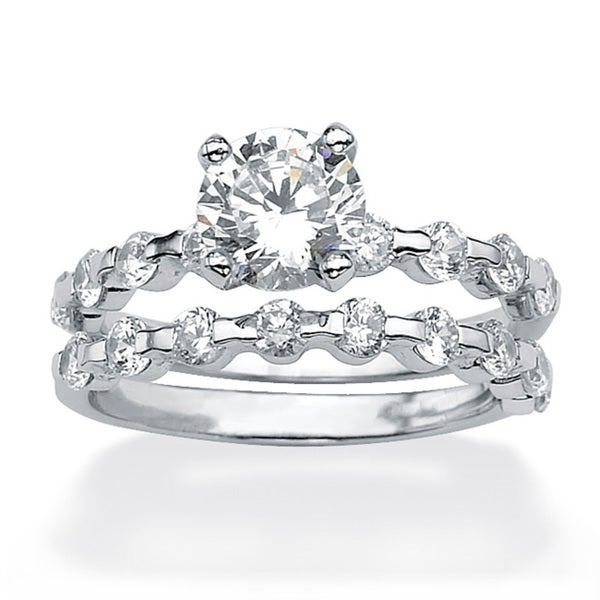 2.52 TCW Round Cubic Zirconia Platinum over Sterling Silver Bridal Engagement Set Ring Cla