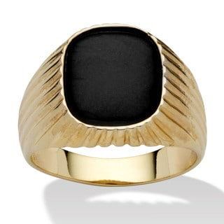 PalmBeach Men's Genuine Onyx 14k Yellow Gold-Plated Ribbed Ring