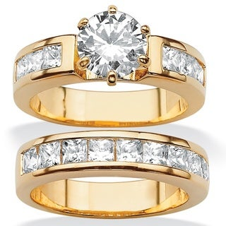 PalmBeach 4.40 TCW Round Cubic Zirconia Two-Piece Bridal Set 14k Gold-Plated Classic CZ