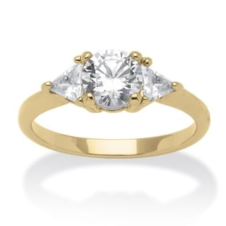 2.18 TCW Round and Trilliant-Cut Cubic Zirconia 14k Yellow Gold-Plated 3-Stone Engagement