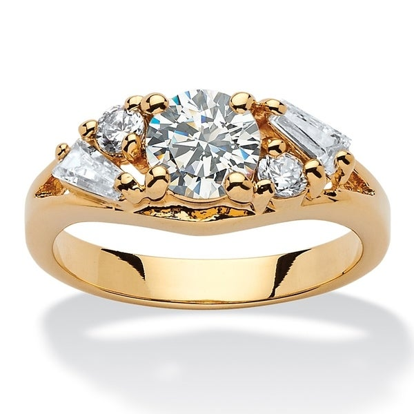 Yellow Gold-plated Cubic Zirconia Engagement Ring