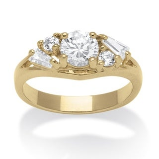 PalmBeach 1.58 TCW Round and Baguette Cubic Zirconia 14k Yellow Gold-Plated Engagement Anniversary Ring Classic CZ