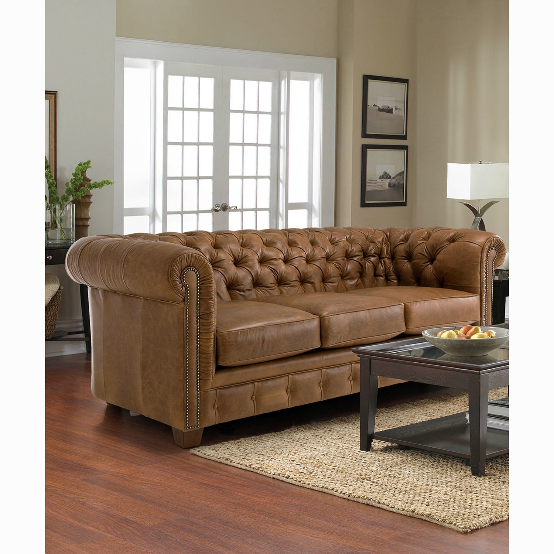 3 Seat Hancock Tufted Top Grain Saddle Brown Italian Chesterfield Leather  Sofa!
