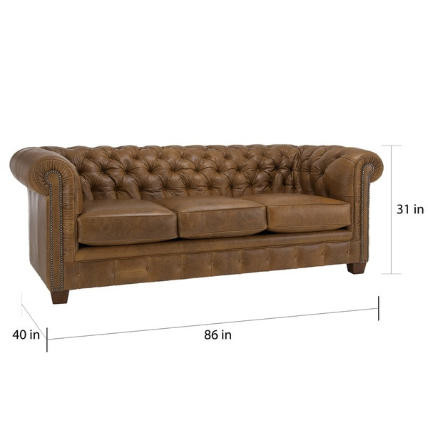 Hancock Tufted Distressed Saddle Brown Italian Chesterfield Leather Sofa    Free Shipping Today   Overstock.com   15472806 Design Inspirations