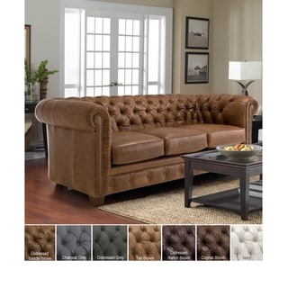 Attirant Hancock Tufted Top Grain Italian Leather Chesterfield Sofa