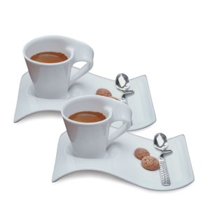 Villeroy & Boch New Wave Caffe Espresso Cups, Saucers and Spoons Set