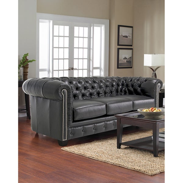 Hancock And Moore Tufted Leather Sofa: Hancock Tufted Black Italian Chesterfield Leather Sofa