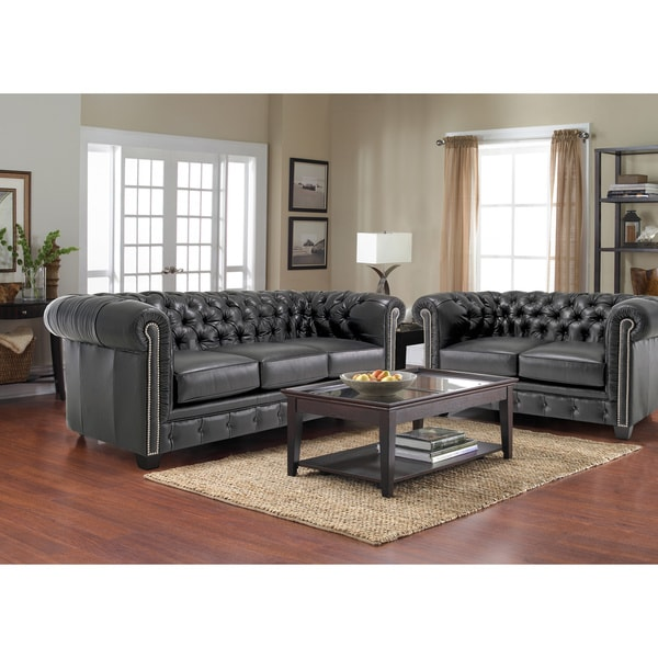 Hancock Tufted Black Italian Chesterfield Leather Sofa and Loveseat - Hancock Tufted Black Italian Chesterfield Leather Sofa And