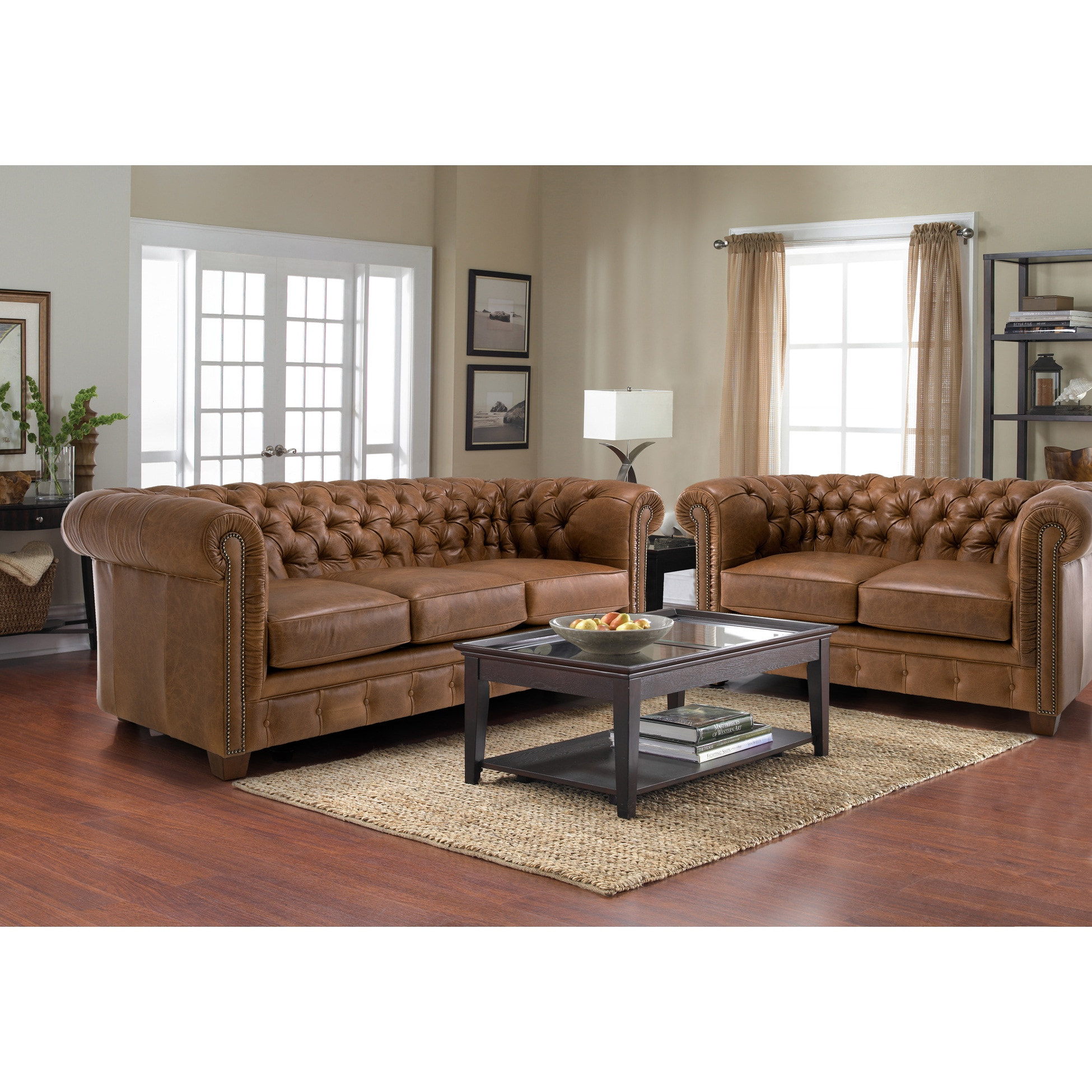 Hancock Tufted Distressed Brown Leather Chesterfield Living Room Sofa Set