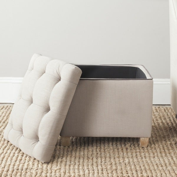 Safavieh Joanie True Taupe Tufted Storage Ottoman