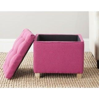 Safavieh Joanie Berry Pink Tufted Storage Ottoman