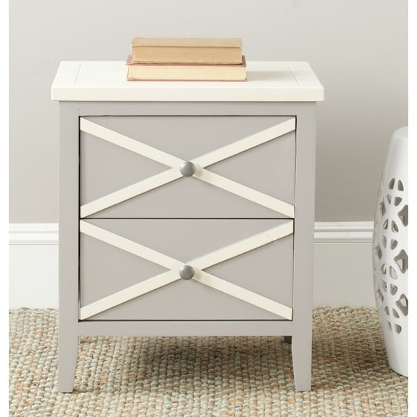 Safavieh Sherrilyn Grey/ White Storage 2 Drawer Side Table